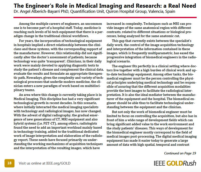 Engineer's role in medical imaging and bioengineering